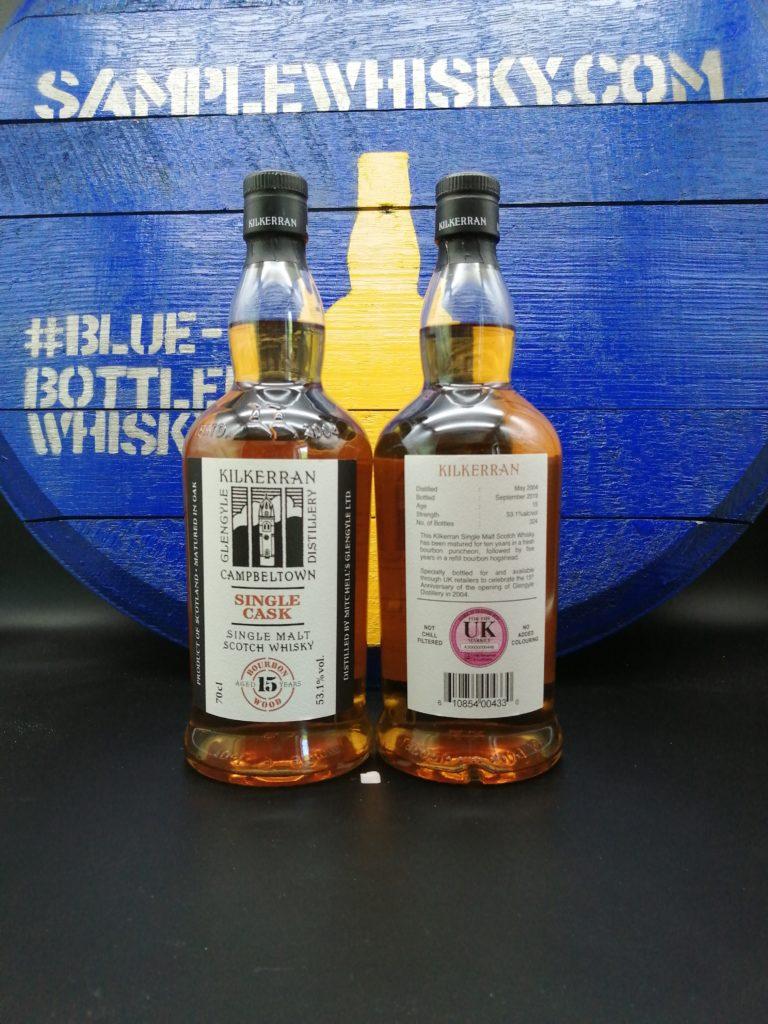 Kilkerran 15 yo UK Front and Back label 53,1 Bourbon